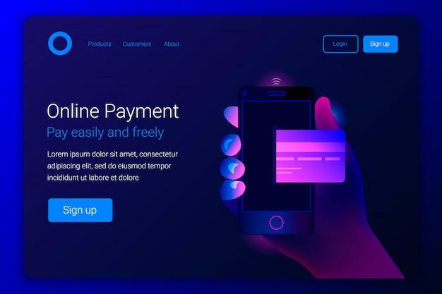 Concetto di pagamento mobile online.