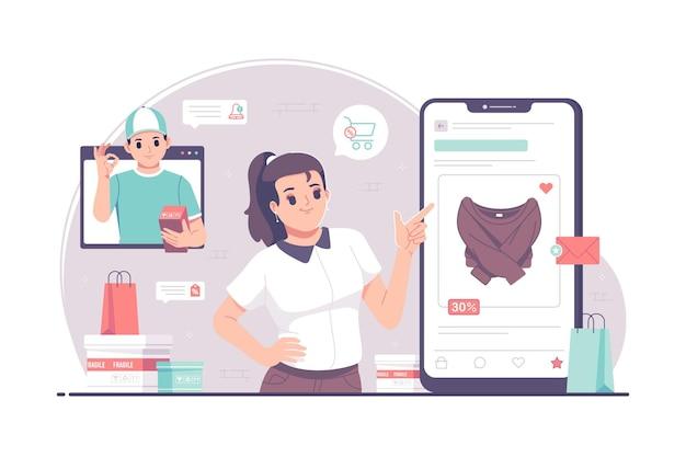 Illustrazione di concetto di acquisto mobile online