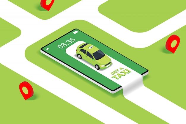 Concetto isometrico piano di app di servizio di taxi mobile online
