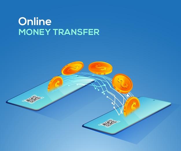 Illustrazione di trasferimento di denaro online