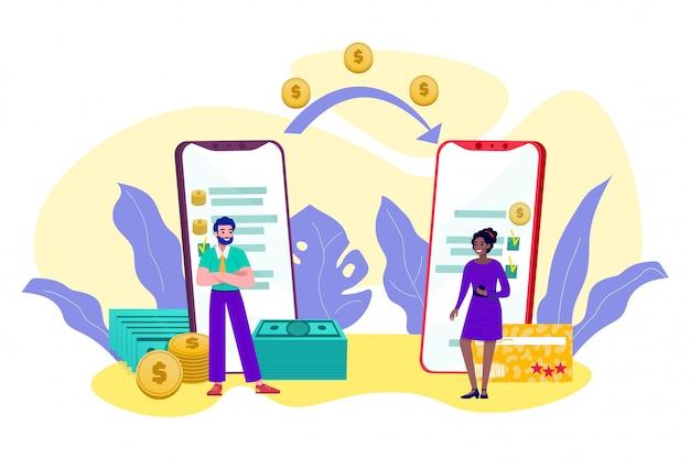 Trasferimento di denaro online, transazione mobile, pagamento via internet, denaro contante e monete in linea bancaria illustrazione. trasferimento di denaro da app per smartphone da uomo a donna minuscole persone.
