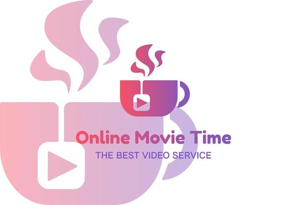 Modello di logo piatto di film online. produzione video, vlogging, idea del logo del servizio di produzione cinematografica