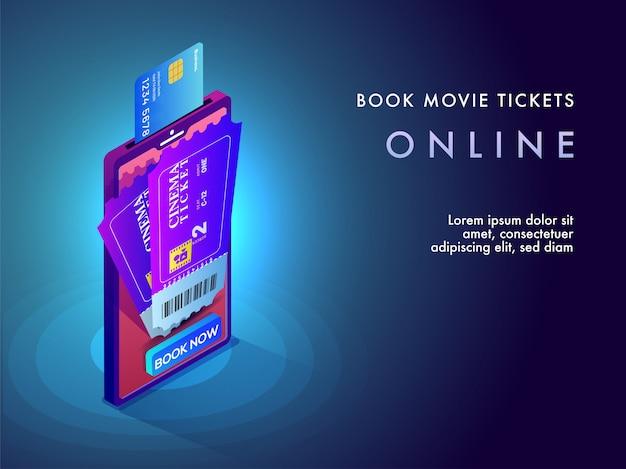 Concetto di prenotazione online del biglietto del film.