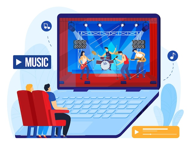 Concerto di musica online, la gente guarda la performance musicale sull'illustrazione del computer.