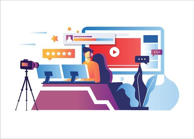 Illustrazione di trasmissione di notizie in linea