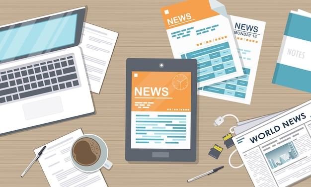 Illustrazione di notizie in linea