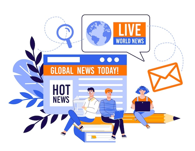 Notizie in linea e concetto di sito web di informazioni con la gente del fumetto