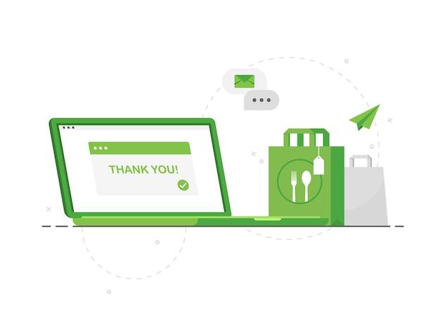 Ordinazione online di cibo tramite laptop con consegna a domicilio senza contatto