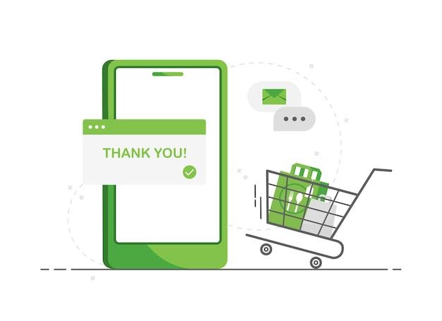 Ordinazione online di cibo tramite telefono cellulare con consegna a domicilio senza contatto