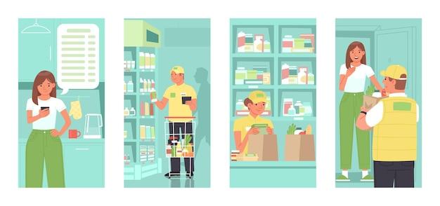 Ordinazione online di prodotti dal supermercato donna effettua un ordine un'applicazione sul telefono