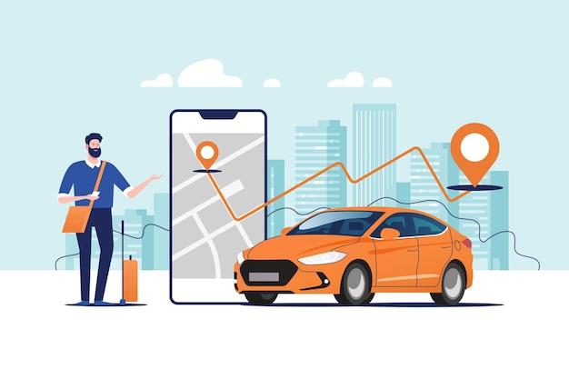 Ordinazione online di taxi, noleggio e condivisione utilizzando l'applicazione mobile del servizio.