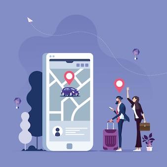 Ordinazione online di auto taxi, noleggio e condivisione tramite l'applicazione mobile di servizio