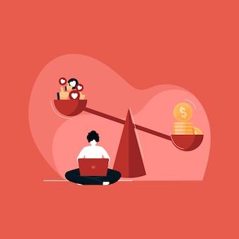 Concetto di marketing a pagamento online, social media e social network