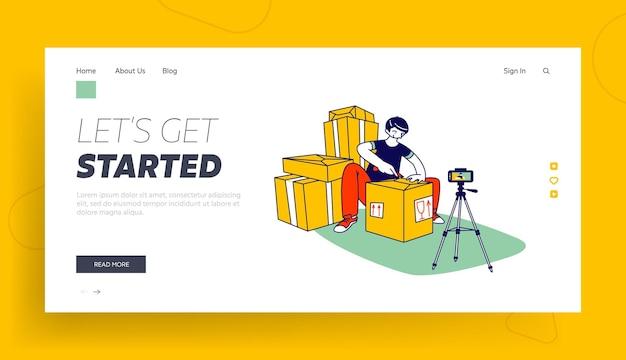 Modello di pagina di destinazione per disimballaggio di pacchi online.