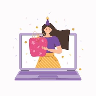 Festa online, compleanno, vacanze. la ragazza augura un felice compleanno usando una videochiamata sul suo laptop. l'amico fa un regalo. incontro con gli amici in videoconferenza o chat. illustrazione piatta disegnata a mano