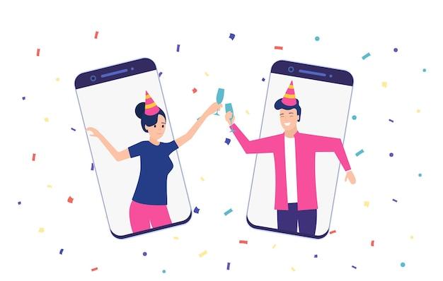 Festa online, compleanno, incontro con gli amici.