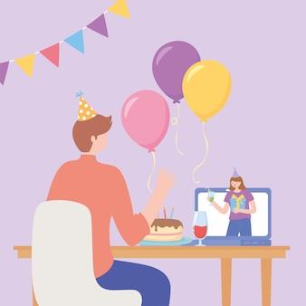 Festa online, uomo connesso da internet con celebrazione della donna con la torta