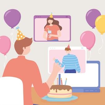 Festa online, celebrazione dell'uomo con torta e palloncini con gli amici dal computer