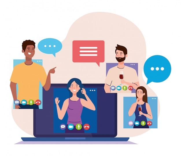 Festa online, incontrare amici, le persone hanno una festa online insieme in quarantena, videoconferenza, festa online della webcam per feste