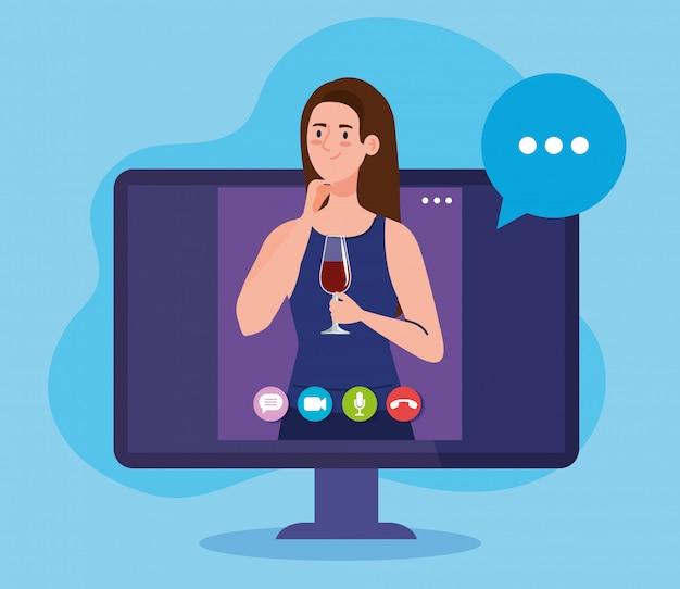 Festa online, la donna ha una festa online in quarantena, una videoconferenza, una vacanza online con una webcam per feste