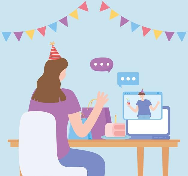 Festa in linea, donna e uomo che parlano dal computer celebrazione compleanno