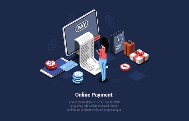 Illustrazione di concetto di pagamento online su sfondo scuro con scrittura. composizione vettoriale isometrica in stile cartone animato 3d. acquisto di prodotti con internet, servizio di ordinazione di merci a distanza, sistema di pagamento di fatture.