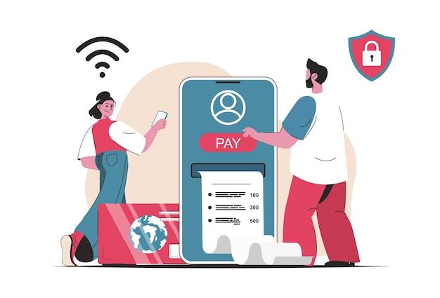 Concetto di pagamento online isolato. pagamento con carta e servizi bancari in app mobile. scena di persone nel design piatto del fumetto. illustrazione vettoriale per blog, sito web, app mobile, materiale promozionale.
