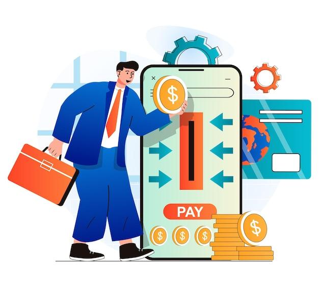Concetto di pagamento online in un moderno design piatto l'uomo d'affari paga le tasse e investe con il cellulare