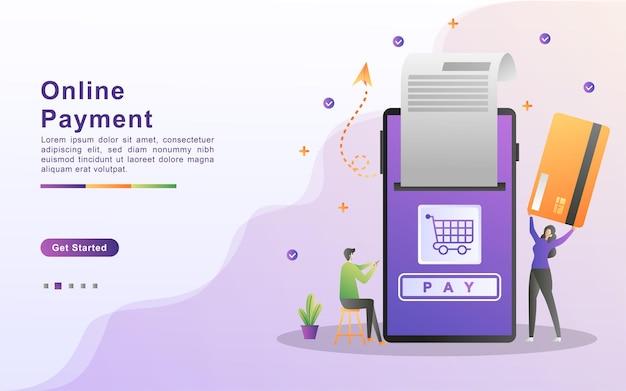 Illustrazione di vettore di concetto di pagamento online.