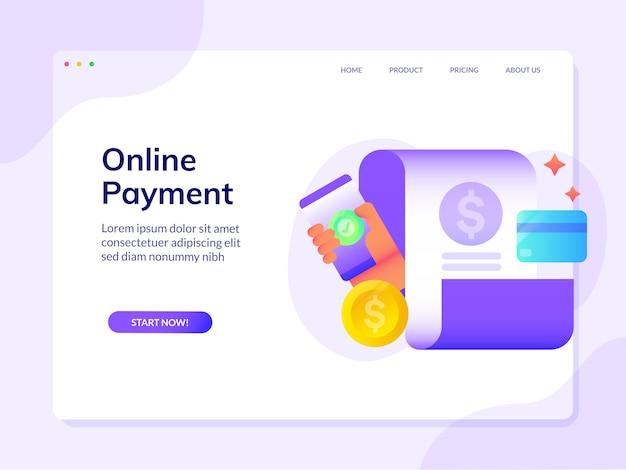 Modello di pagina di destinazione del sito web con gradiente di pagamento online