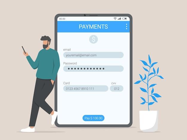 Illustrazione di concetto di informazioni di pagamento online