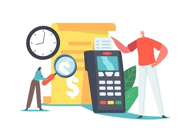 Transazione di pagamento online, concetto di cronologia di pagamento. il personaggio dell'acquirente dell'uomo prende bill all'enorme terminale pos nel supermercato. acquisti in internet con report cellulare. cartoon persone illustrazione vettoriale