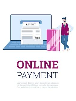 Illustrazione piana di vettore del fumetto di concetto di banca virtuale e pagamento online