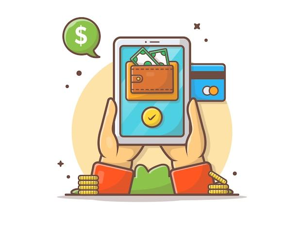 Pagamento online con il portafoglio e la carta di credito sull'illustrazione dell'icona di vettore della compressa