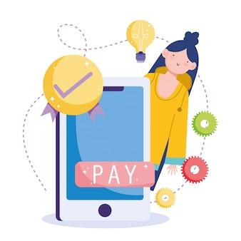 Pagamento online, segno di spunta dello smartphone donna, shopping sul mercato e-commerce, app mobile