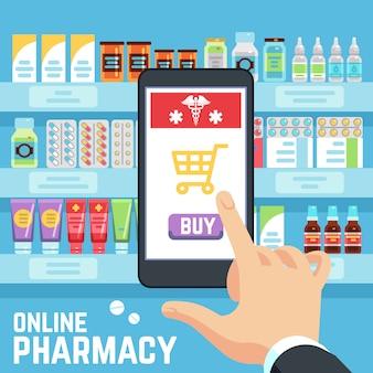 Concetto di farmacia online. la mano dell'acquirente seleziona e acquista droghe e farmaci sullo schermo del telefono cellulare