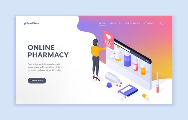 Modello di banner isometrico farmacia online