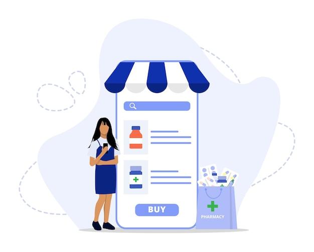 Illustrazione di concetto di servizio di farmacia online