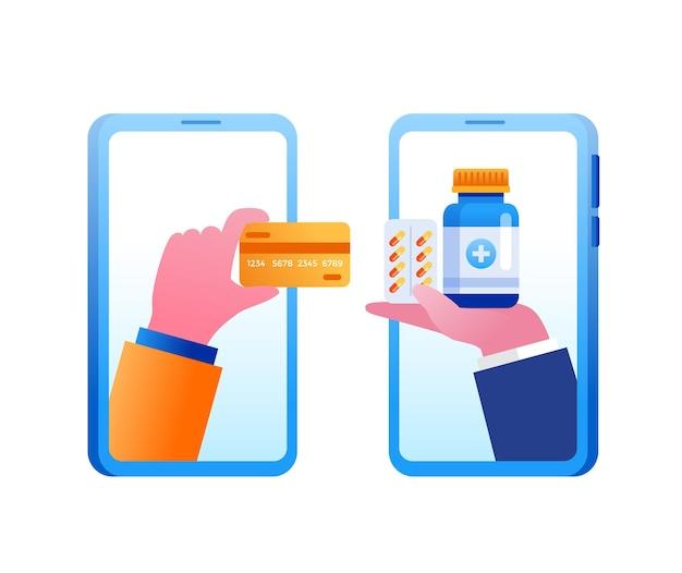 Illustrazione vettoriale piatta per lo shopping in farmacia online per banner e landing page