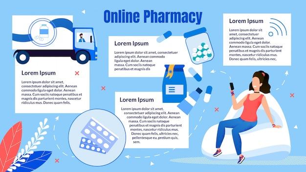 Negozio di farmacia online piatto
