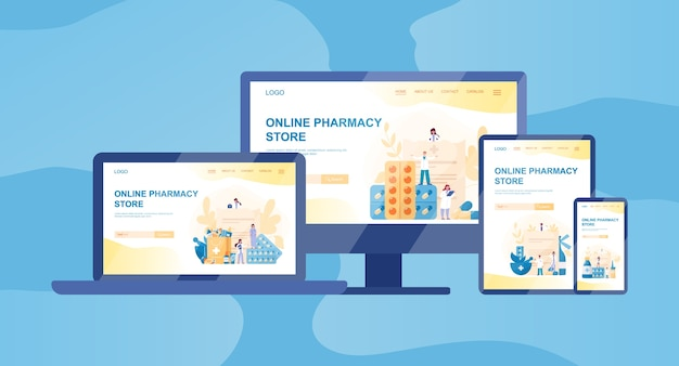 Banner web farmacia online su dispositivo diverso, computer, laptop