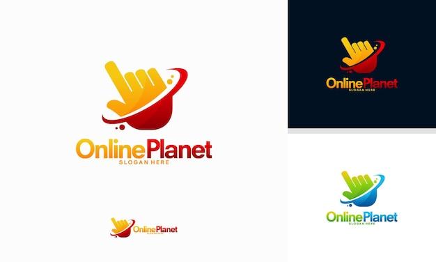 Il logo del pianeta online progetta il vettore del concetto, il vettore del modello del logo dello scudo del cursore