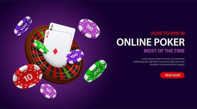 Gioco di poker online vincente banner web con ruota della roulette di carte chip