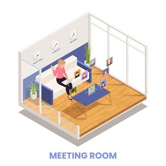 Presentazione online e concetto di conferenza con illustrazione isometrica di simboli della sala riunioni