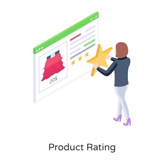Un vettore isometrico dell'illustrazione della valutazione del prodotto online