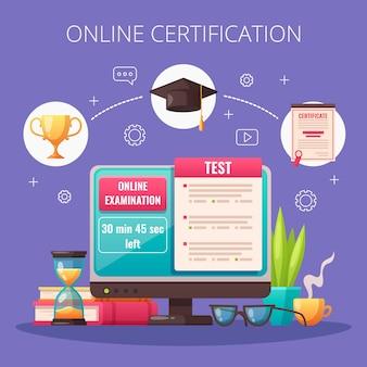 Composizione in cartone animato di test di esame di corsi di programmi di certificazione professionale online con tappo di laurea del monitor del computer