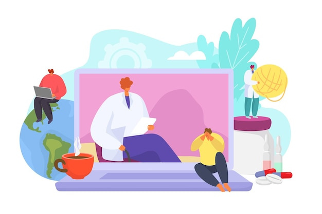 Terapia mentale di consulenza psicologica online e illustrazione di aiuto