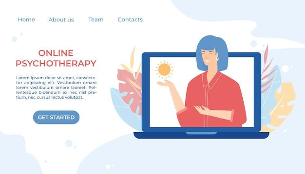 Concetto di psicoterapia online. servizio internet di consulenza psicologica. consultazione remota. mentale