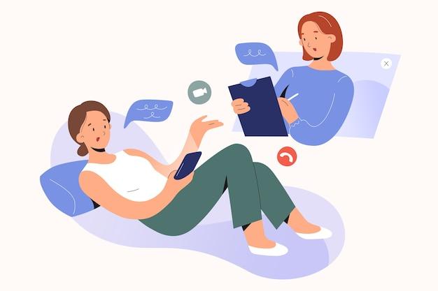 Concetto di psicoterapia in linea psicologo della donna che parla al paziente