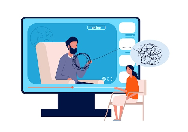Psicoterapia on line. consultazione psicologica, conferenza sulla salute mentale del web per adulti. la donna ha bisogno di aiuto, medico e illustrazione vettoriale del paziente. psicoterapia terapia online, aiuto consulenza mentale
